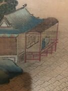 Very Large 4 Panel Silk Painting Japanese Wall Hanging Art Signed 72andrdquo Long