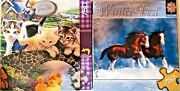 Lot Of 2 Master Pieces 750 Piece Jigsaw Puzzle Snow Kings And A Purrfect Day