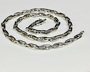 10k Solid White Gold Handmade Rolo Link Chain/necklace 20 48 Grms 5.75 Mm