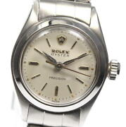 Rolex Oyster Precision 6410 Antique Manual Winding Ladies White Silver Stainless