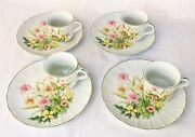 Vintage Jade Lily Shafford Fine Porcelain China Set Of 4 Plates And Cups New