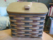 Longaberger Signature Plaid Weave Mailbox Basket W Protector And Rev. Mail Tie On