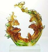 Pate De Verre Liuli Glass Sculpture Fish And Water Crystal Feng Shui Birthday Gift