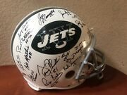 1969 New York Jets Autographed Nfl Riddell Throwback Helmet Signed With Box
