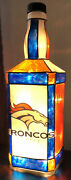 Upcycled Jack Daniels - Denver Broncos Faux Stained Glass Light