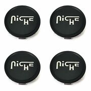 For Ebay 4x Niche Satin Black Wheel Center Hub Caps 2.95 2-15/16 Snap-in Fo