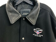 Official Nfl Coors Light G-111 Leather Wool Black Gray Letterman Jacket Large