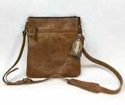 Leaders In The Leather Womenand039s Brown Crossbody Vaquetta Natural Bag 10.5 X 9 In