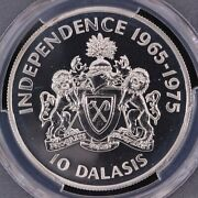 Pcgs Graded Pr67 Gambia 1975 10 Dalasis 10th Ann. Independence Proof Silver Coin