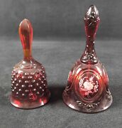 Lot Of 2 Red Fenton Bells Hand Painted And Hobnail