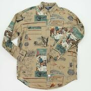 Vintage Polo M Fly Fishing Sportsman Angler Button Front Shirt