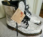 New Doc Dr Martens White Lace And Glitter Wedding Boots Rare Vintage Uk 7 Us 9