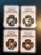 1990 China Gold Fish Set Of Four S20g Ngc Graded Silver Proofs Mintage Of 2000
