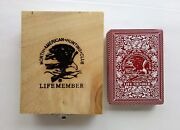 North American Hunting Club Deck Playing Cards Life Member Animals W/ Wooden Box