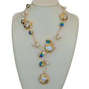21freshwater Cultured White Keshi Pearl Blue Murano Glass Necklace