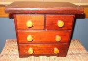 Old Vintage Jewelry Box Small Craftsman Style Dresser Shaped Round Wooden Knob