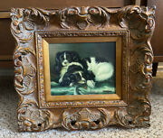 Original 19th C. Oil Painting King Charles Spaniel Dogs Framed Signed Harlow