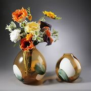 Hand Blown Amber Glass Vase Round Ball Large Color Home Decoration