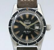 Technos Sky Diver Original Black Mirror Dial Automatic Vintage Watch 1960and039s