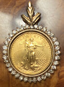 1999 United States Lady Liberty 5 Gold Coin Custom Gold Bezel Pendent