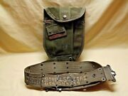 Vintage True Us Military Army Folding Trench Shovel Pouch And Personalized Belt