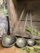 3 Vintage Hand Hammered Copper Ladles With Hand Made Iron Handles And Hooks