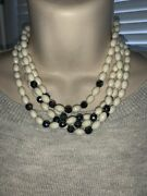 Rare Vintage Christian Dior Four Strand Onyx Glass And Pearl Bead Necklace ❤️tw4j