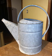 Vintage Wheeling Galvanized Watering Can 10 Qt 2.5 Gal Great Cond And Holds Water