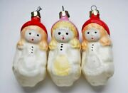 Vintage Ussr Glass Christmas Tree Three Girls Toy Set Gift Snow Time Collectible