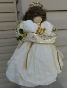 Angel Christmas Tree Topper Paper Mache Wood Head Gold White Music Notes