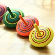 10xmulticolor Wooden Spinning Top Toy Handmade Painted Wooden Toys Perfect W2z6