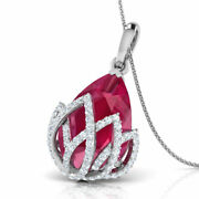 Christmas 1.54ct Natural Round Diamond 14k Solid White Gold Ruby Pendant