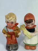 Vintage Salt And Pepper Shakers Pheasant Boy And Girl Hummel Look 5m
