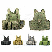 Tactical Military Molle Adjustable Combat Vest Plate Carrier With Mag Pouch
