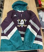 Anaheim Mighty Ducks Nhl Hockey Hooded Jacket Puffer Vintage 90and039s Embroidered Xl
