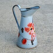 Vintage French Enamelware Enamel Sky Blue Body Pitcher With Flowers