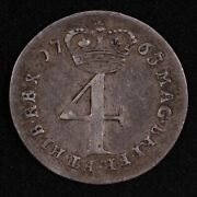 Great Britain 1763 Fourpence 4d Groat George Iii Km 596.1 World Silver Coin