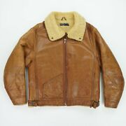 Vintage Polo M Leather Shearling Lined Bomber Flight Jacket