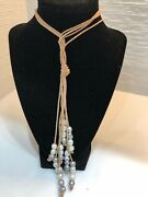 Hipchik Leather And Pearl Necklace -