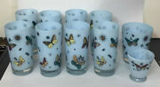 10 Mcm Georges Briard Aqua Butterfly Highball Tumblers Rock And Liqueur Glasses