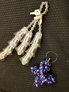Handmade Christmas Ornament Lot Of 2 Long Hanging Bells And Bead Cross W/nails