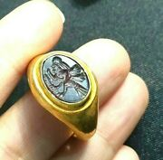 Ancient Garnet Human Face Eagle Body Mythical Creature Solid Gold 22k Roman Ring