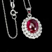 Red Ruby 11x9mm Cz 14k White Gold Plate 925 Sterling Silver Necklace 18inch