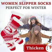 Women's Winter Fleece Lined Thermal Fuzzy Christmas Slipper Socks With Grippers