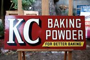"""Vintage Original Double Sided Kc Baking Powder Sign Store Display 27¾"""" By 11¾"""""""