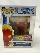 Human Torch Glow In The Dark Collector Corps 572 Funko Pop