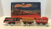 Wind Up Tin Lithographed German Mechanical Train Set With Track In Original Box