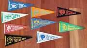 Vintage Nfl Football 1960andrsquos Mini Pennants Lot Of 9 4andrdquo X 9andrdquo Packers Steelers