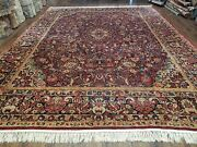 9and039 X 11and039 5 Antique Authentic Handmade Wool Rug Floral Red Organic Nice