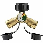 Propane Splitter, 2 Way Y Adapter With Gauge For Propane Tank, Lp Gas Free Ship